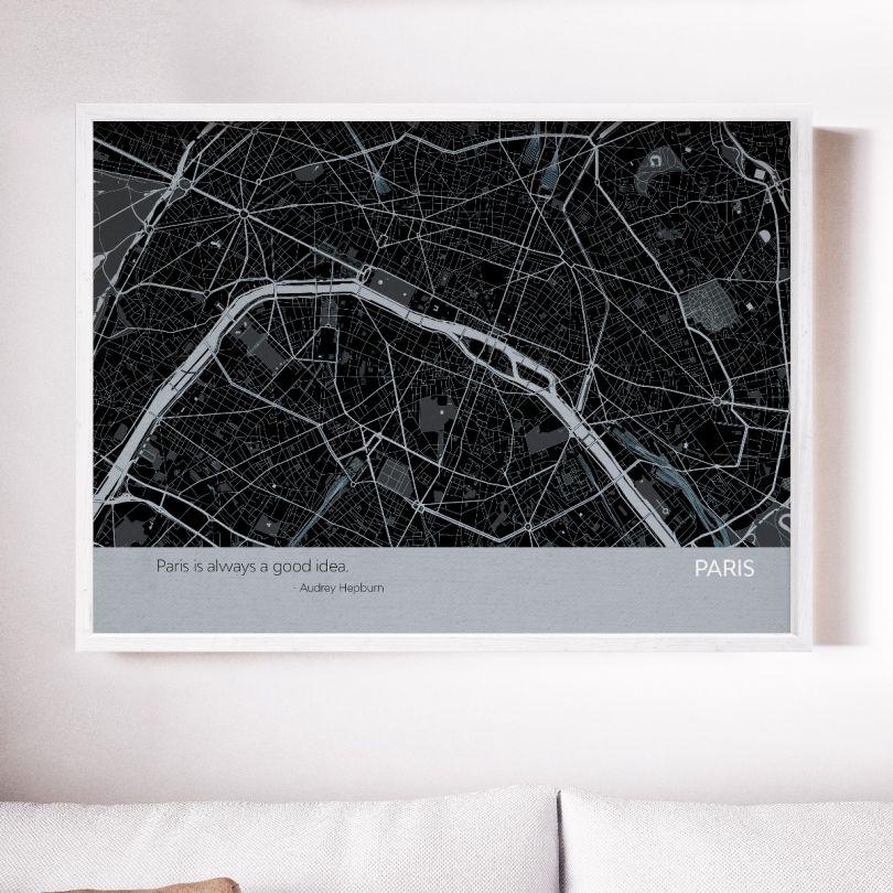 Paris City Street Map Print Charcoal