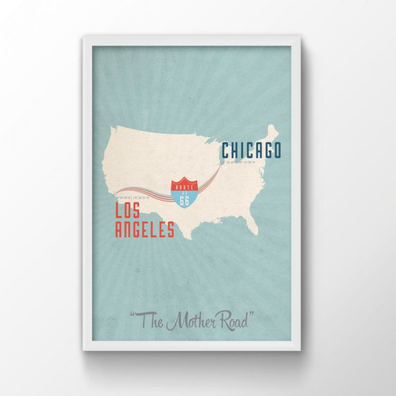 Route 66 Map Print