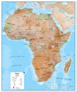 Large Physical Africa Wall Map (Pinboard)