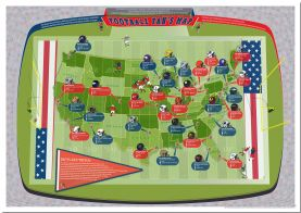 Large American Football Stadiums Map (Pinboard)