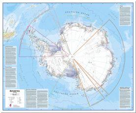 Large Political Antarctica Wall Map (Pinboard)
