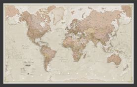 Small Antique World Map (Wood Frame - Black)