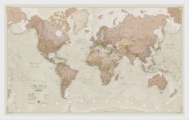 Small Antique World Map (Wood Frame - White)