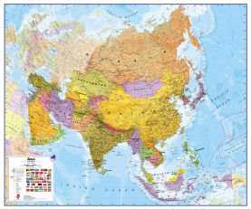 Large Asia Wall Map Political (Paper)
