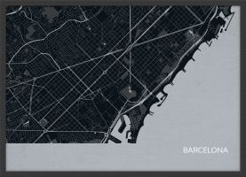 Small Barcelona City Street Map Print - Charcoal (Wood Frame - Black)