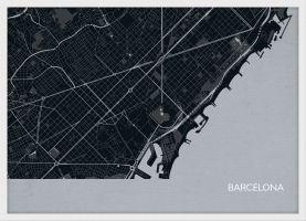 ARCH B Barcelona City Street Map Print - Charcoal (Wood Frame - White)