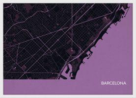 ARCH B Barcelona City Street Map Print - Mauve (Wood Frame - White)