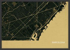 ARCH B Barcelona City Street Map Print - Straw (Wood Frame - Black)