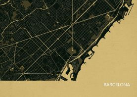Barcelona City Street Map Print - Straw