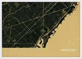 Small Barcelona City Street Map Print - Straw (Wood Frame - White)