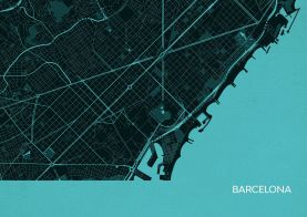 Barcelona City Street Map Print - Turquoise