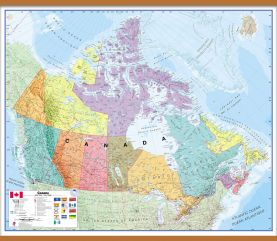 Large Political Canada Wall Map (Wooden hanging bars)
