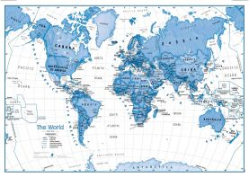 Children's Art Map of the World - Blue