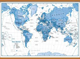 Large Children's Art Map of the World Blue (Wooden hanging bars)