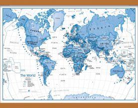 Medium Children's Art Map of the World Blue (Wooden hanging bars)