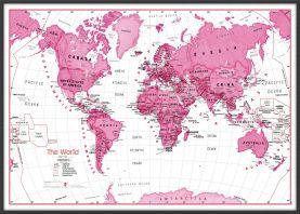 Large Children's Art Map of the World - Pink (Wood Frame - Black)