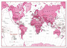 Large Children's Art Map of the World Pink (Pinboard)