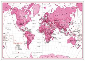 Large Children's Art Map of the World Pink (Wood Frame - White)