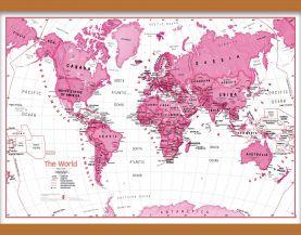 Medium Children's Art Map of the World Pink (Wooden hanging bars)