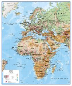 Physical Europe Middle East Africa (EMEA) Map (Pinboard)