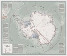 Large Executive Political Antarctica Wall Map (Pinboard)
