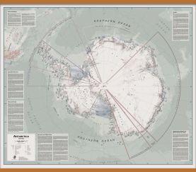 Large Executive Political Antarctica Wall Map (Wooden hanging bars)
