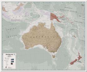 Large Executive Political Australasia Wall Map (Pinboard)