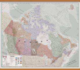 Large Executive Canada Wall Map (Wooden hanging bars)