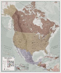 Large Executive North America Wall Map Political (Paper)