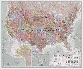 Large Executive USA Wall Map (Pinboard)