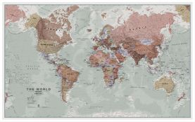 Large Executive Political World Wall Map (Pinboard & wood frame - White)