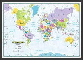 Children's Glow-in-the-Dark World Map (Pinboard & wood frame - Black)
