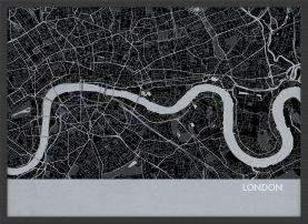 ARCH B London City Street Map Print - Charcoal (Wood Frame - Black)