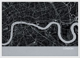 Small London City Street Map Print - Charcoal (Wood Frame - White)