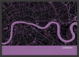 ARCH B London City Street Map Print - Mauve (Wood Frame - Black)