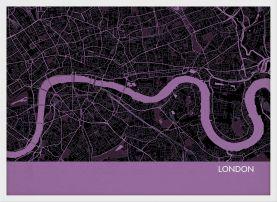 Small London City Street Map Print - Mauve (Wood Frame - White)