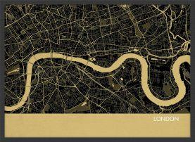 ARCH B London City Street Map Print - Straw (Wood Frame - Black)