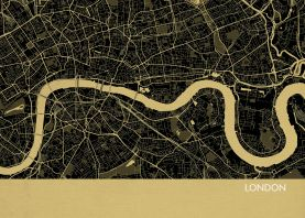 London City Street Map Print - Straw