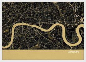 ARCH B London City Street Map Print - Straw (Wood Frame - White)