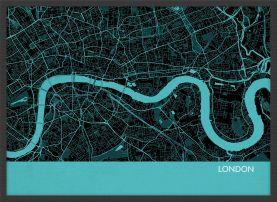 Small London City Street Map Print - Turquoise (Wood Frame - Black)