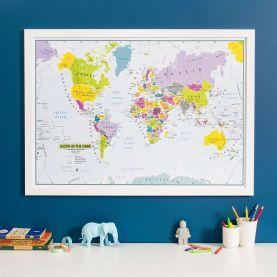 Children's Glow-in-the-Dark World Map (Pinboard & wood frame - White)