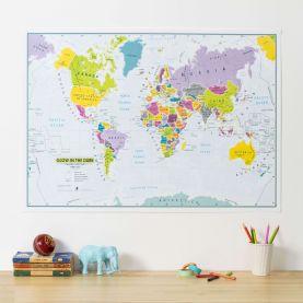 Children's Glow-in-the-Dark World Map (Silk Art Paper)