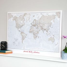 Personalized World Is Art Wall Map - Neutral