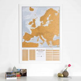 Scratch Europe Print (Pinboard & wood frame - White)