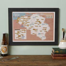 Scratch-Off Belgium Beers Print (Pinboard & wood frame - Black)