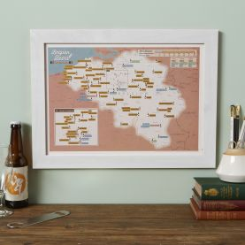Scratch Off Belgium Beers Print (Pinboard & wood frame - White)