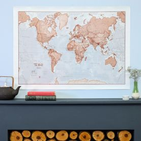 Medium The World Is Art - Wall Map Red (Silk Art Paper)