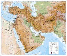 Physical Middle East Wall Map