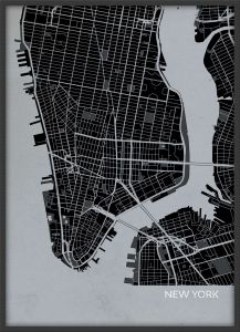 Small New York City Street Map Print Charcoal (Wood Frame - Black)