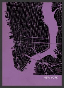 Small New York City Street Map Print Mauve (Wood Frame - Black)